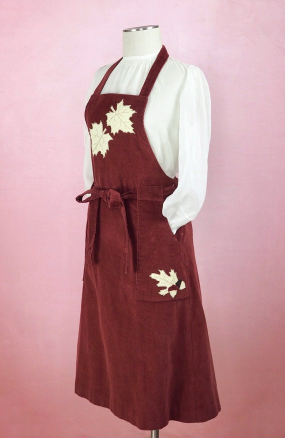 1970s Corduroy Pinafore Dress in 1940s style