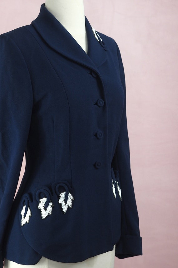 1940s Navy Jacket with Beaded Leaves and Trapunto