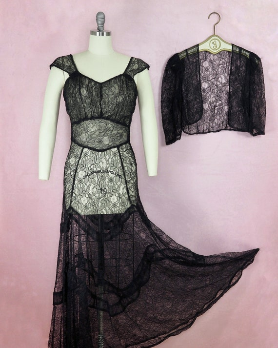 1930s or 1940s Spider Web Lace Gown and Bolero