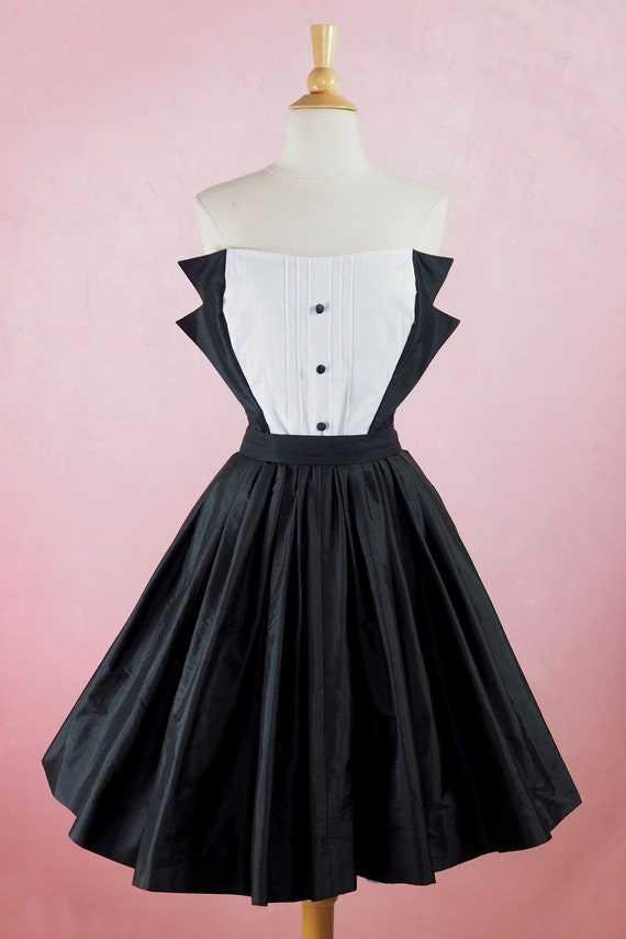 1980s does 1950s Tuxedo Dress