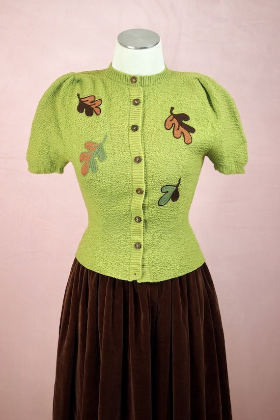 1930s Chartreuse Chain Stitch Sweater