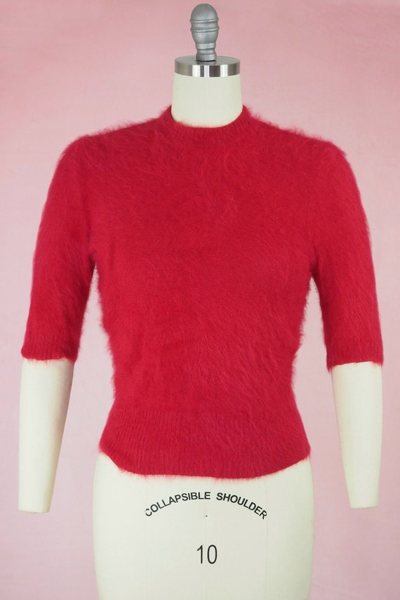 1950s Raspberry Angora Sweater