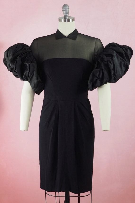 1950s High Drama Rayon and Silk Taffeta Dress