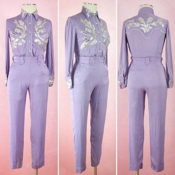 1950s Ranch Maid Purple Gabardine Rodeo Suit