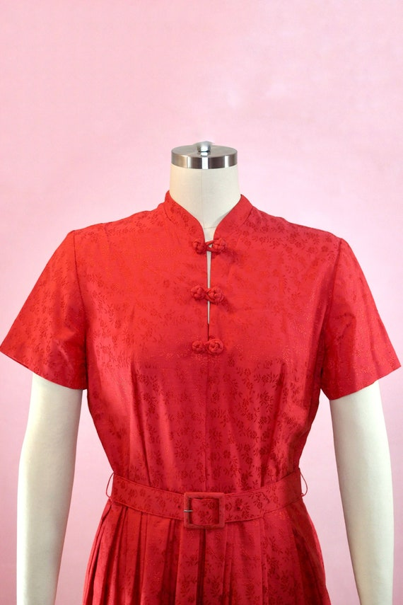 1950s Red Dress with Mandarin Collar and Frog Clos