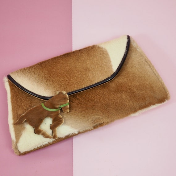 1950s Western Pony hair Clutch with Horse Embellis