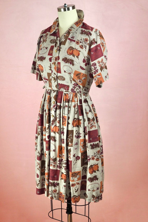 1950s Botanical Novelty Print Dress