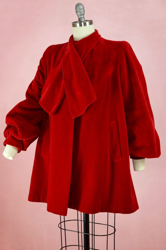 1940s Bishop Sleeve Red Velvet Coat