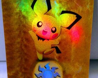 3 FOIL MTG Altered Art Plains Pichu Pikachu Raichu - Great for Commander EDH Cube - FOiL Bonus - We will take Requests - Magic