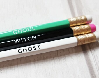Engraved Halloween pencils, Halloween gift, imprinted pencils, Halloween present, Ghoul, Witch, Ghost