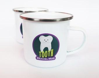 Enamel Tooth Cup, cute toothbrush holder, kawaii enamel mug, enamel travel mug