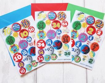 Custom age birthday card, personalised birthday card, Happy Birthday card, any age added