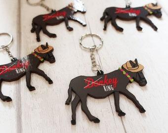 Wooden donkey keyring, wooden keychain, wooden key ring, kitsch keyring, donkey lover gift