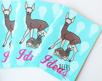 Small lined notebook, a6 pocket diary, small secret journal, recycled pocket jotter, deer notebook