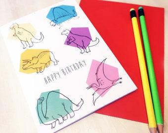 Dinosaur birthday card, dino birthday card, dinosaur party, dinosaur greetings card