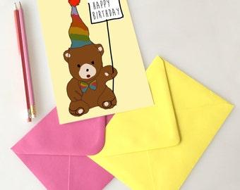Teddy bear Happy Birthday Card, birthday card, paper greeting card, funny greeting card, friend birthday card, handmade card, blank card