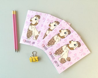 A6 pocket notebook, small recycled notebook, small pocket journal, poodle dog notebook
