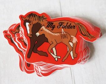 Paper folder sticker, folder label, planner sticker, horse shaped sticker, back to school