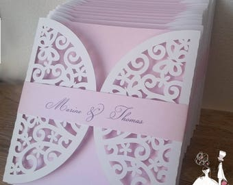 Cut lace Butterfly wedding invitation