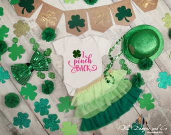 I pink Back/Girl/Gifts/St. Patricks Day/ Kisses/Clovers