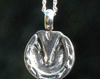 Horse hoof pendant, diamond hoof pendant,silver horse hoof, gold horse hoof, shod hoof pendant,  silver hoof charm, gold hoof charm