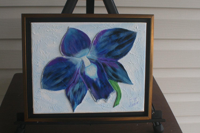 Mixta orquídea azul y cuero COLLAGE firmado obras de arte   Etsy