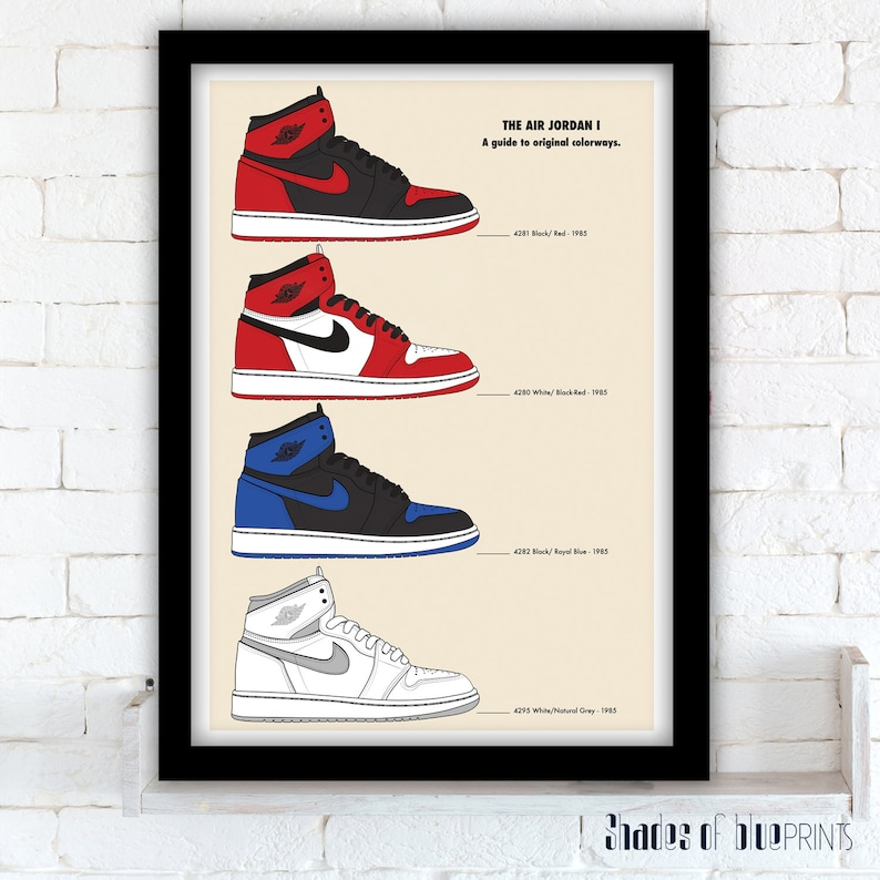8901ee547b5 Nike Air Jordan 1 A guide to original colorways poster | Etsy