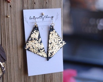 Gold Flake Leather Triangle Dangle Earrings || Hypoallergenic || Handcut