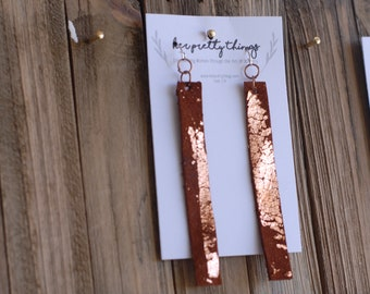 Gold Flake Leather Bar Dangle Earrings || Four Color Options || Hypoallergenic || Handcut