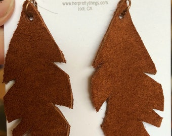 Handcut Leather Feather Earrings || Caramel || Hypoallergenic