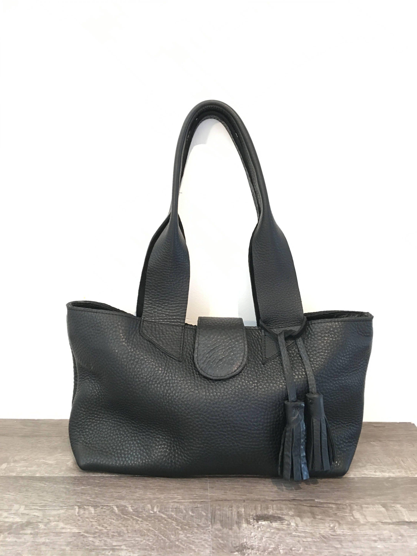 ZIPPER Small black leather shoulder bag with BLACK tassel   Etsy 16428ede0a