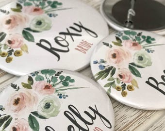 CUSTOM Name Buttons, Watercolor Style Rose Bouquet, Pink, Mint, Blue, Pins, Baby Shower, Weddings, Bridal Shower, Roxy Benton Designs
