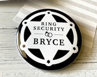 Ring Security Badge, Ring Bearer Button, CUSTOM Name Buttons, Pins, Weddings, Roxy Benton Designs