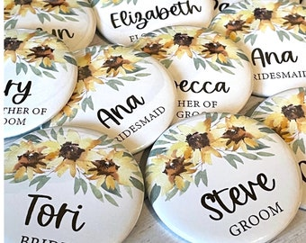 Sunflowers, Watercolor Style, Bouquet, Rustic Brown Button Backing, CUSTOM Name Buttons, Pins, Baby Shower, Bridal Shower, Sunny