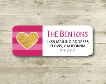 return address stickers \u2022 heart \u2022 vera \u2022 24 stickers