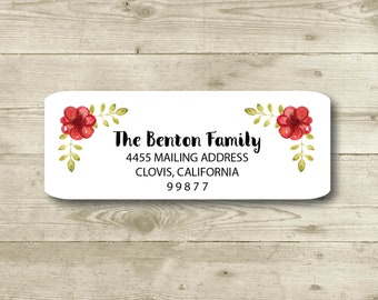 Rose All Occasions Return Address Label Tea Pot Everyday MATTE Blue Stripes Personalized Watercolor Style Tea Cups