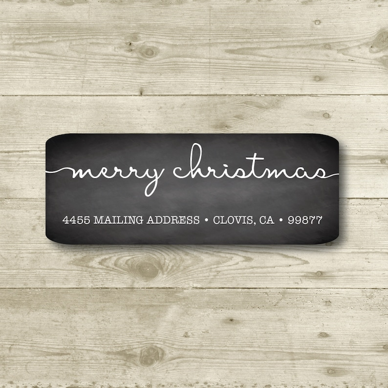 Everyday Personalized Return Address Label Merry Christmas MATTE Chalkboard Style Background All Occasions Holiday
