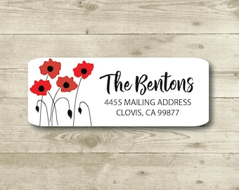 Poppies, Cherry Tomato Color, Red Color, Return Address Label, Personalized, MATTE, Weddings, All Occasions, Everyday, Floral