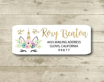 Unicorn Face, Pink, Mint, Gold Accent,Return Address Label, Personalized, MATTE, Everyday, Sparkle