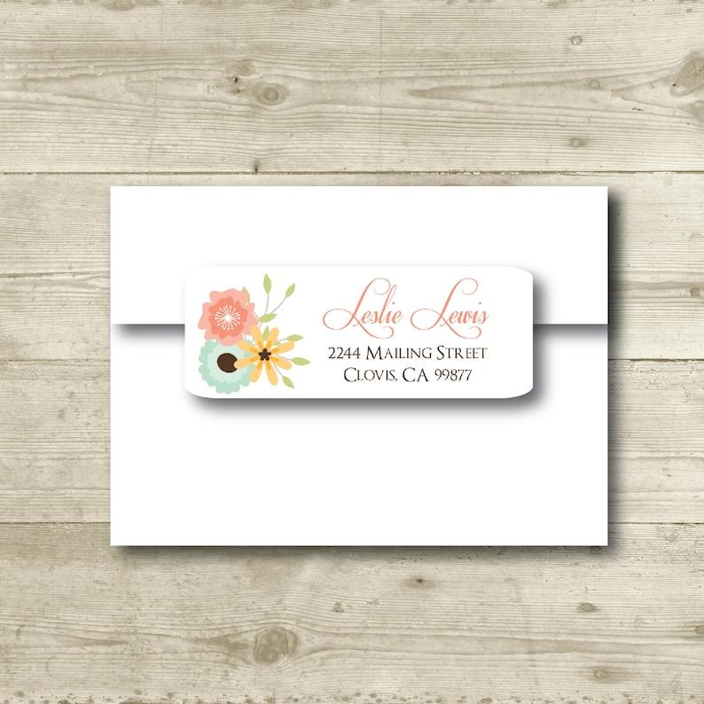 Yellow Return Address Label MATTE Peach Flowers Mint Personalized