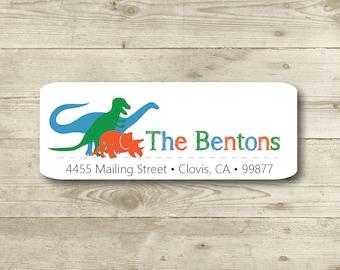 Dinosaurs, Return Address Label, Custom, MATTE, Blue, Orange, Green, Rhinoceros, Tyrannosaurus Rex