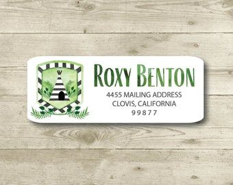 Boho Camping, Watercolor Style, Return Address Label, Personalized, MATTE, Tent, Teepee, Outdoors, Forest, Woods