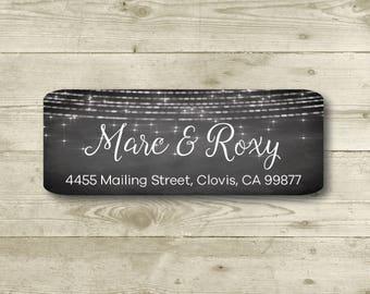 Sparkle, Lights, Return Address Label, Personalized, MATTE, Chalkboard Style Background