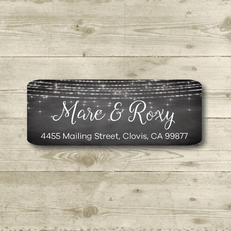 Return Address Label Chalkboard Style Background MATTE Sparkle Lights Personalized