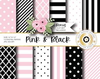 Pink and Black Digital Paper Pack, Stripes, Dots, Quatrefoil, BONUS CLIP ART, Digital Scrapbook Papers, Set of 12, Instant Download