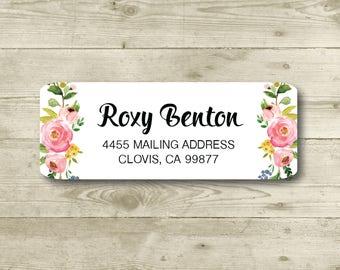 Rose Vine, Elegant Floral, Watercolor Style, Rose, Return Address Label, Personalized, MATTE, Wedding, Shower, All Occasions