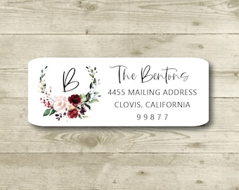 Red and Ivory Roses, Watercolor Floral Wreath, Monogram, Elegant, Color Choices. Custom Return Address Label, Personalized, All Occasions