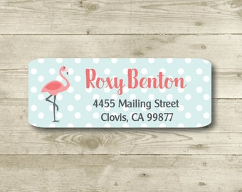 Flamingo, Turquoise Polka Dots, Pink,  Coral, Return Address Label, Personalized, MATTE, All Occasions
