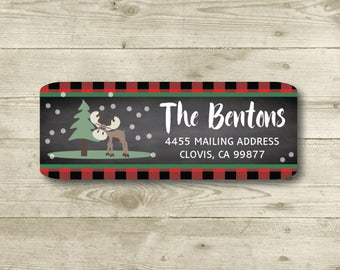 Moose, Snow, Red Plaid and Chalkboard Style Background, Return Address Label, Personalized, MATTE, Holiday, Winter 2017 Collection