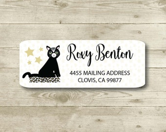 Little Black Cat, Stars, Leopard, Illustration, Return Address Label, Personalized, MATTE, All Occasions, Special Events